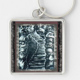 Stone Pathway Silver-Colored Square Key Ring