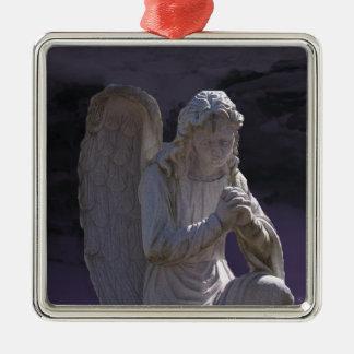 Stone Praying Angel Metal Ornament