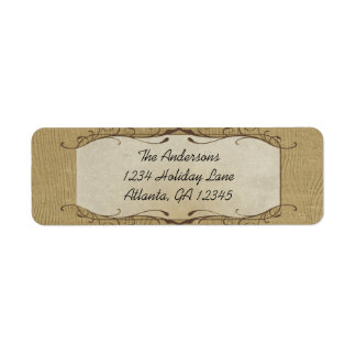 Stone Swirled on Wood Grain Return Address Label