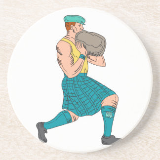 Stone Throw Highland Games Athlete Drawing Coaster