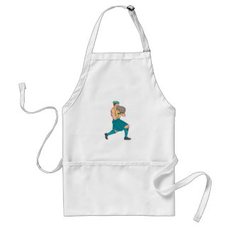 Stone Throw Highland Games Athlete Drawing Standard Apron