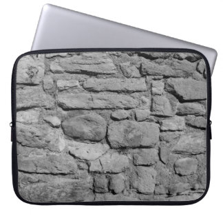Stone Wall. Black and white. Laptop Sleeve