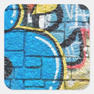 stone wall graffiti square sticker