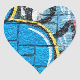 stone wall graffiti heart sticker