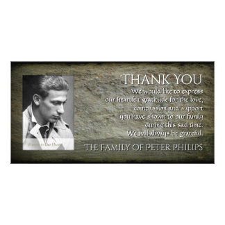 Stone wall Photo Frame Sympathy Thank You P 1H Customised Photo Card