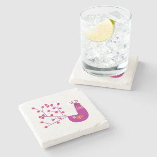 Stone with Pink peacock Stone Coaster