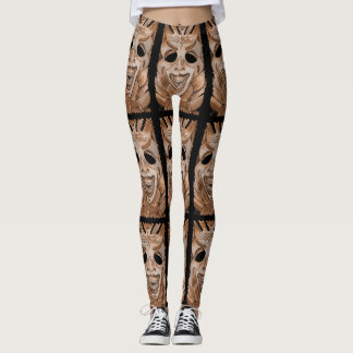 STONE WOOD CARVED SMILING TIKY MASK LEGGINGS