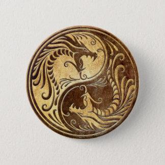 Stone Yin Yang Dragons 6 Cm Round Badge
