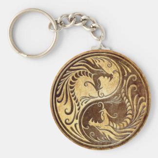 Stone Yin Yang Dragons Key Ring