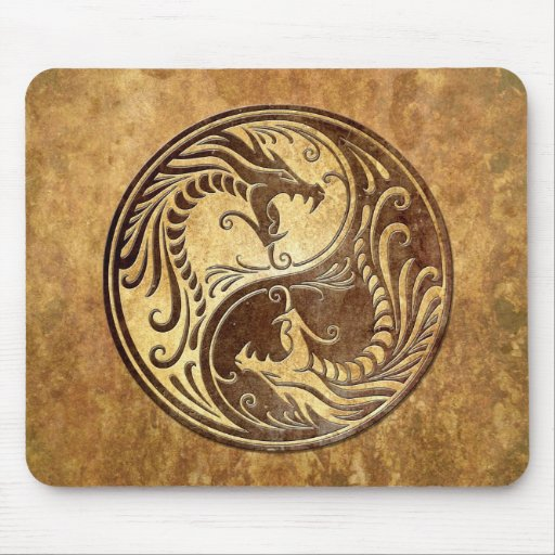 Stone Yin Yang Dragons Mouse Pad