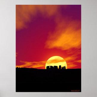Stonehenge Sunset Poster