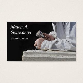 Stonemason carving block of stone