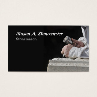 Stonemason with mallet and chisel