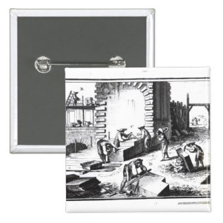 Stonemasons at work, engraved by Lucotte 15 Cm Square Badge
