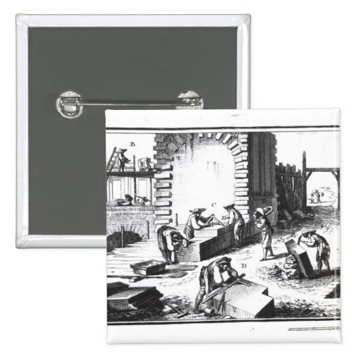 Stonemasons at work, engraved by Lucotte Pinback Buttons