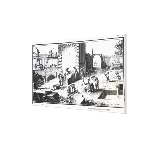Stonemasons at work, engraved by Lucotte Gallery Wrapped Canvas