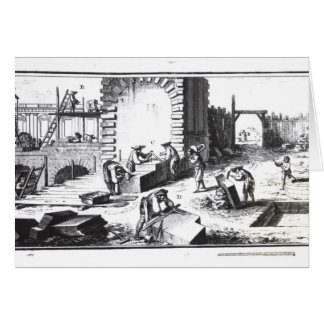 Stonemasons at work, engraved by Lucotte Greeting Card