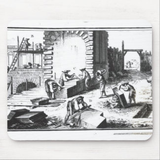 Stonemasons at work, engraved by Lucotte Mouse Pad