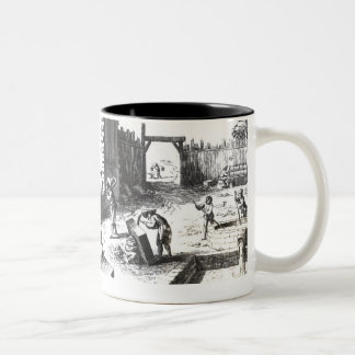 Stonemasons at work, engraved by Lucotte Mugs