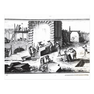 Stonemasons at work, engraved by Lucotte Postcard