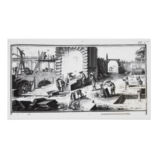 Stonemasons at work, engraved by Lucotte Poster