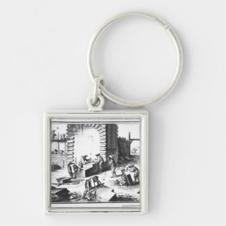 Stonemasons at work, engraved by Lucotte Silver-Colored Square Key Ring