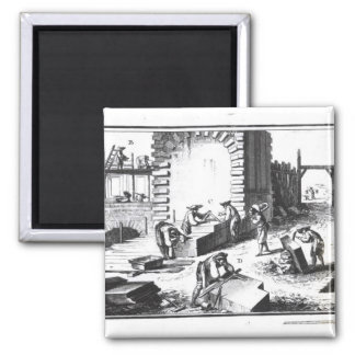 Stonemasons at work, engraved by Lucotte Square Magnet