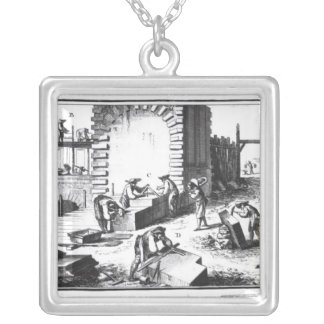 Stonemasons at work, engraved by Lucotte Square Pendant Necklace
