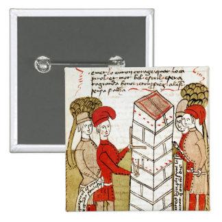 Stonemasons, from 'Traite d'Arpentage' 15 Cm Square Badge