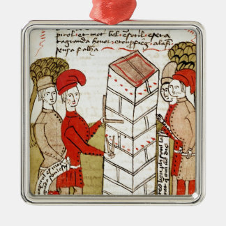 Stonemasons, from 'Traite d'Arpentage' Silver-Colored Square Decoration