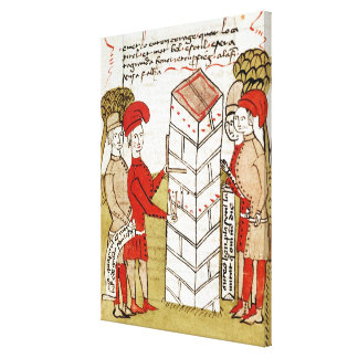 Stonemasons, from 'Traite d'Arpentage' Stretched Canvas Print