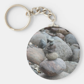 Stones at the Baltic Sea, stacked, stone balance Basic Round Button Key Ring