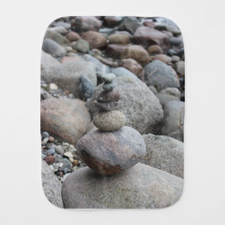 Stones at the Baltic Sea, stacked, stone balance Burp Cloth