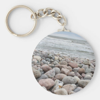 Stones at the beach/Baltic Sea/island reproaches Basic Round Button Key Ring