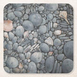 Stones Beach Pebbles Rocks Square Paper Coaster