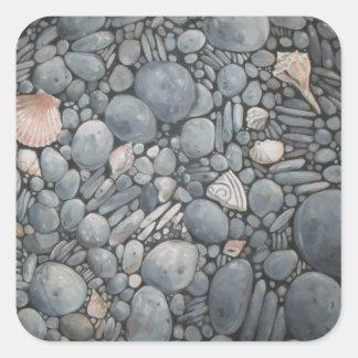 Stones Beach Pebbles Rocks Square Sticker