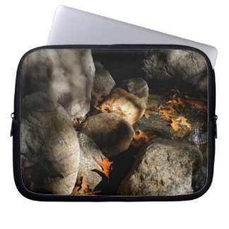 Stones, Maple Leaves, Water Laptop Sleeve