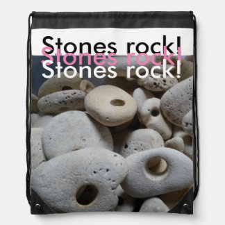 Stones rock girly stylish design beach drawstring bag