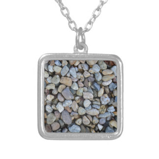 stones rocks texture silver plated necklace