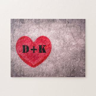 Stonewashed Heart Monogram Personalize Jigsaw Puzzle