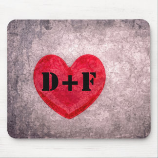 Stonewashed Heart Monogram Personalize Mousepad