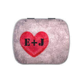 Stonewashed Heart Monogram Personalize Jelly Belly Tin