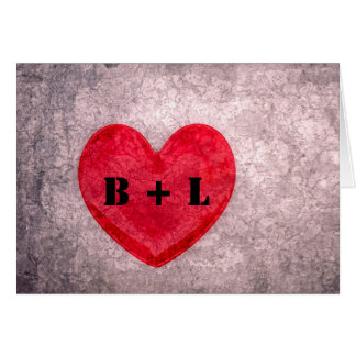 Stonewashed Heart Monogrammed Note Card