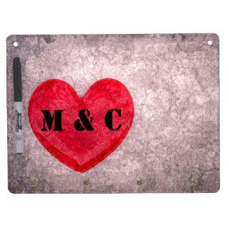 Stonewashed Heart Personalized Dry Erase Whiteboards