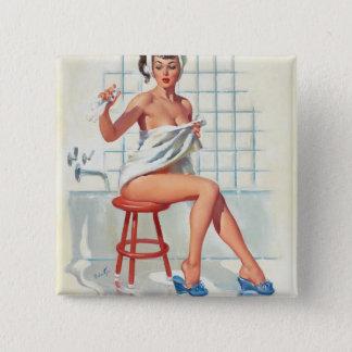 Stool pigeon sexy bathroom retro pinup girl 15 cm square badge