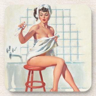Stool pigeon sexy bathroom retro pinup girl beverage coasters