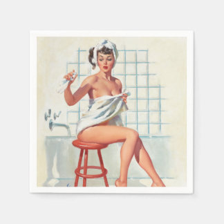 Stool pigeon sexy bathroom retro pinup girl disposable napkin