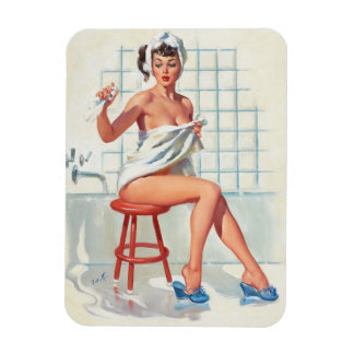 Stool pigeon sexy bathroom retro pinup girl magnet