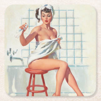 Stool pigeon sexy bathroom retro pinup girl square paper coaster