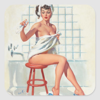 Stool pigeon sexy bathroom retro pinup girl square sticker